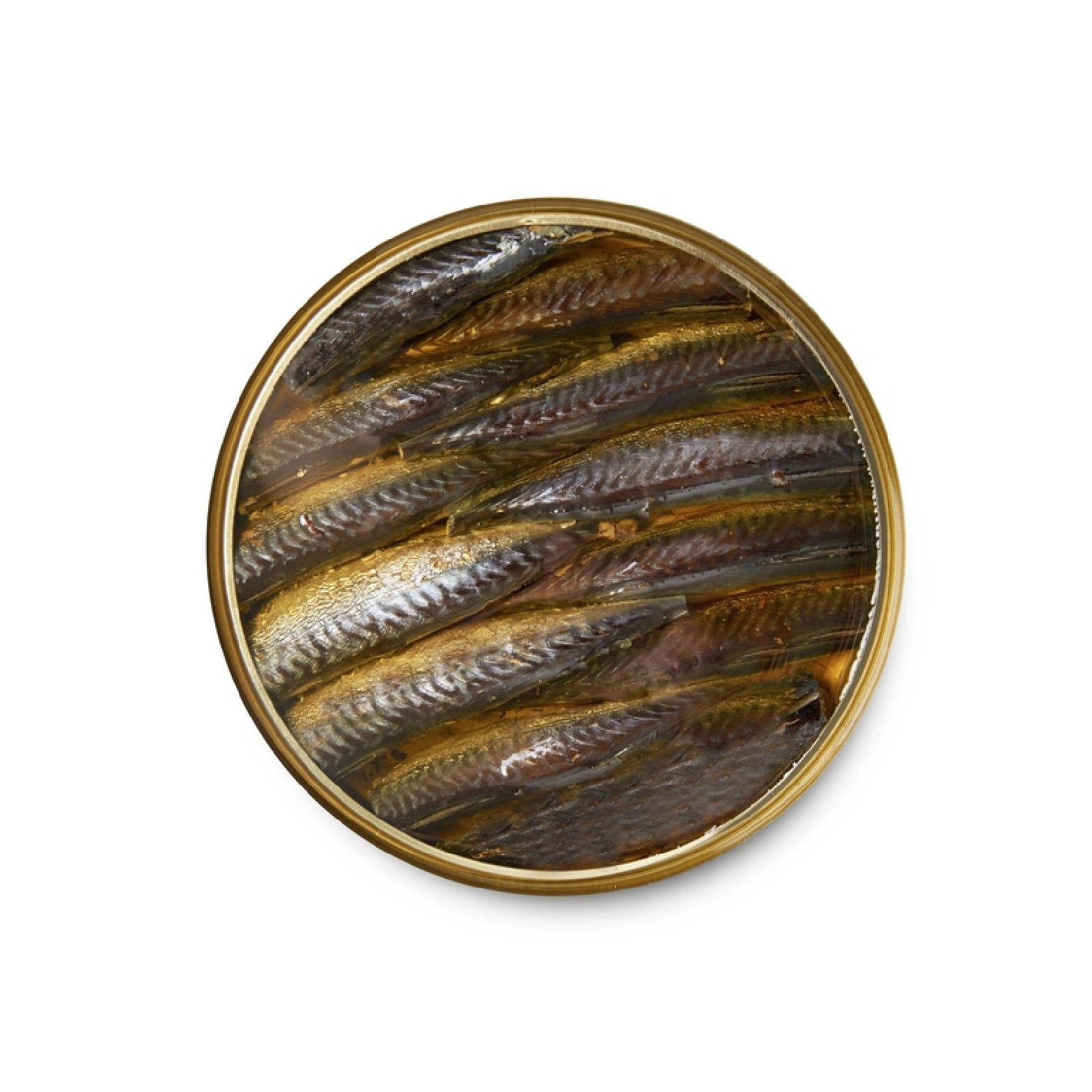 Small smoked mackerels in olive oil