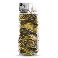 Squid ink and turmeric tagliatelles